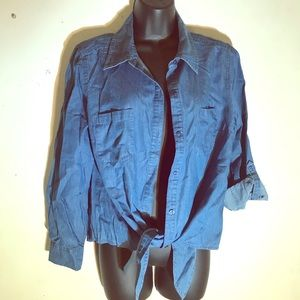 Denim style button up top